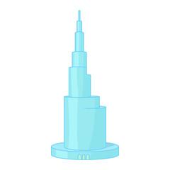 Skyscraper Burj Khalifan, Dubai icon cartoon style