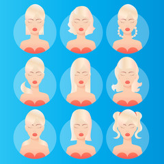 Women hairstyles. Avatar. Young blonde woman with various hair style. Different Beautiful portrait women. Set of round icons with women. Vector design illustrations.