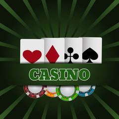 Illustartion of casino chip and card with place for text eps 10