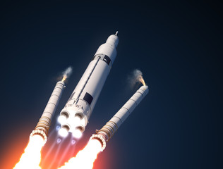 Fotobehang - Space Launch System Solid Rocket Boosters Separation