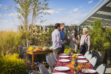 Happy friends standing by outdoor table during garden party