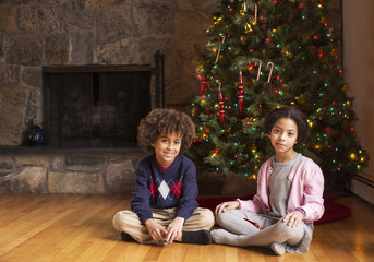 Portrait of siblings sitting against Christmas tree at home
