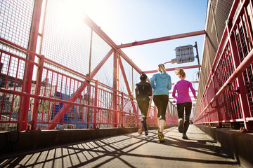 Rear view of female athletes jogging on pedestrian walkway against clear sky