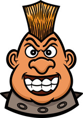 Mohawk Warrior Head Cartoon Figure for Band Leader, Bikers or Riders Community