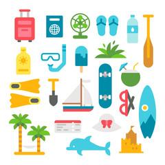 Flat design beach items set