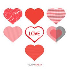 Set heart love icon. Flat icon. Vector illustration.