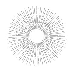 Linear drawing of rays of the sun. Light rays of burst.
