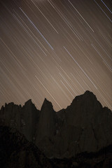 Scenic view of star trails