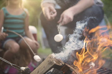 Father and daughter roasting marshmallow