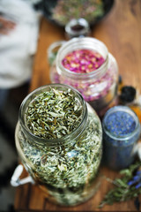 Close-up of herbs in jar