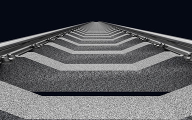3D Illustration of a straight railroad track on dark