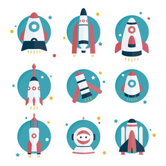 Flat rockets and space man set. Space and traveling. Project startup.