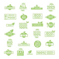 24 eco organic bio logos set of badges, emblems and stamps vector. Vegan, organic, healthy food.