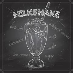 Milkshake scetch on a black board