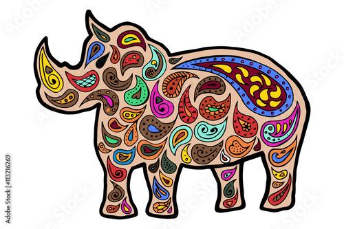 Rhinoceros Zentangle And Zendoodle Vector Rhino Zen Tangle Doodle Animal Coloring Book