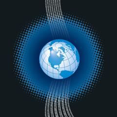 A binary, digital background with a globe