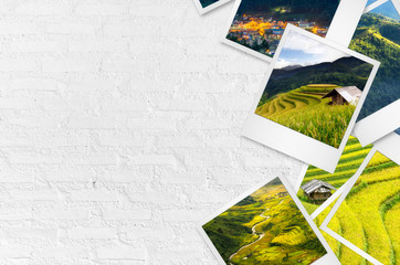Mu Cang Chai polaroid photo papers on white wall.