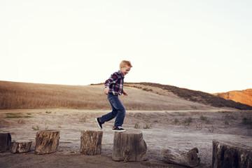 Boy jumping on tree stumps