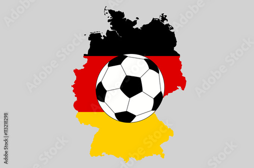 vector germany topographic map isolated on grey background with football ball icon germany flag and