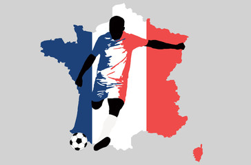 UEFA Euro 2016 vector illustration of football player run hit ball. Flag and map contour of France. Group A participant. Soccer team player in national uniform original colors. France map clip art