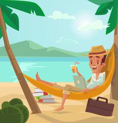 Man relaxes on beach. Man have vacation. Holiday on beach. Vector flat cartoon illustration