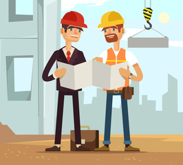 Two builders. Builder and engineer. Builders read plan. Building houses. Vector flat cartoon illustration