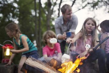 Family roasting marshmallows at summer camp outdoors