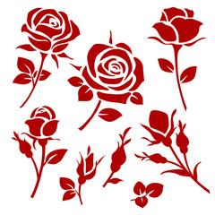 Fototapeta Rose icon. Set of decorative roses silhouettes obraz