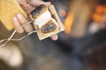 Cropped image of hands holding marshmallow with fork over smores