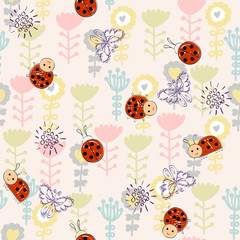 Cute hand draw seamless pattern for girl.