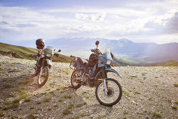 Motorcycles in mountains,