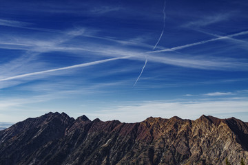 Wasatch Mountains against blue sky
