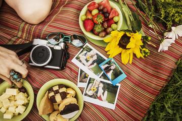 Young women having picnic