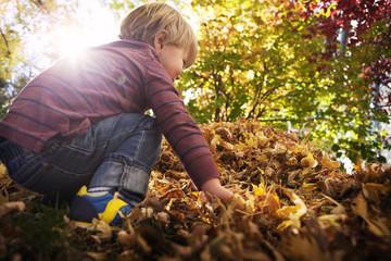Little boy crouching in backyard at sunlight
