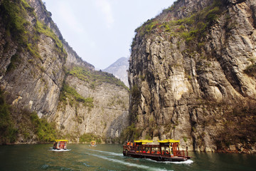 View of tourist boats on Yangtze River