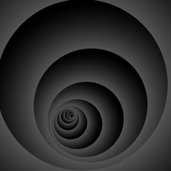 Optical illusion. Fractal stretching into the distance are dark gray rings on black background.