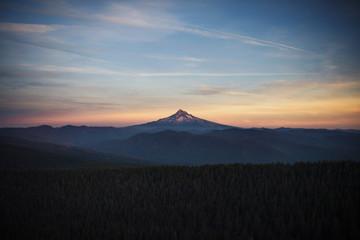 Mountain peak at dusk