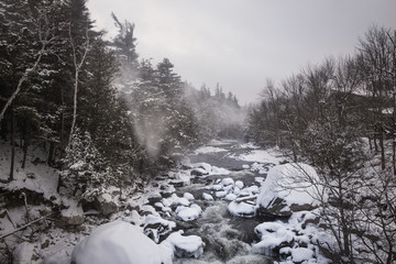 Rocky river in forest during winter