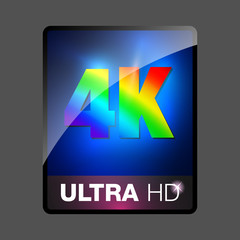 4K ultra HD sign. 4K video icon, ultra high definition logo, vector illustration. 4K ultra HD web button.