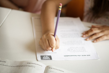 Cropped image of girl studying at table