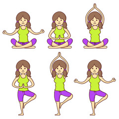 Vector set with beautiful cartoon woman exercising various different yoga poses. Fitness poses. Cartoon yoga. Girl relaxation in yoga poses. Girl relax. Health girl.