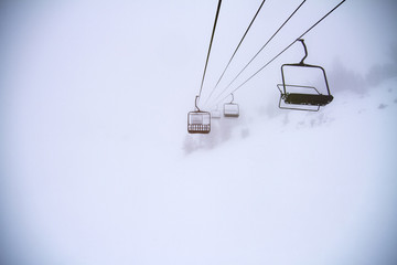 Ski lift in winter storm