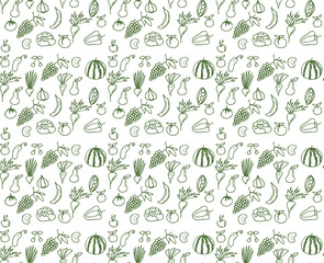 Seamless pattern with vegetables and fruit on white background. Vector illustration