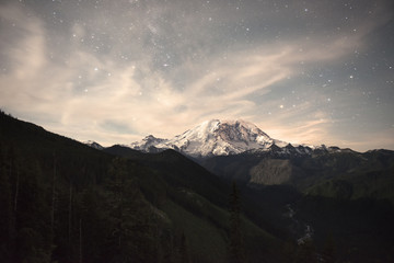 Snowcapped mountain with star covered sky