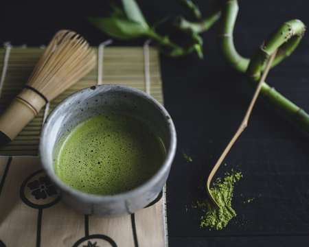 Close up of matcha in bowl