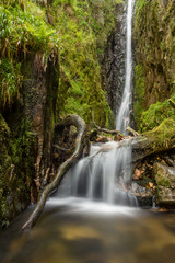 Tall woodland waterfall with small cascade. Scale Force, Lake District, UK.