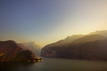 Aerial view of Yangtze River on sunny day