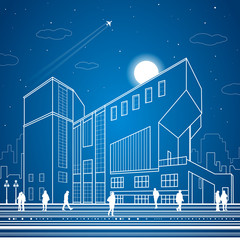 Modern building, people walk on the square, the city's infrastructure, vector design art
