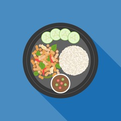 Thai food, Pad ka prao(Basil Chicken Stir-Fry), flat design