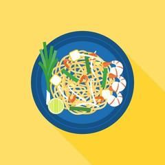 Thai food, Pad thai (Stir-fried rice noodle), flat design